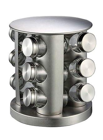 Amazon.de: Stahl Gewürzregal - Rund oder Quadratisch drehbarer ...