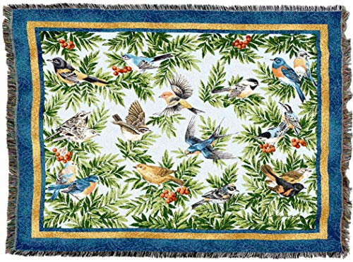 Pure Country Weavers | Songbirds Woven Tapestry Throw Blanket Cotton with Fringe Cotton USA 72x54
