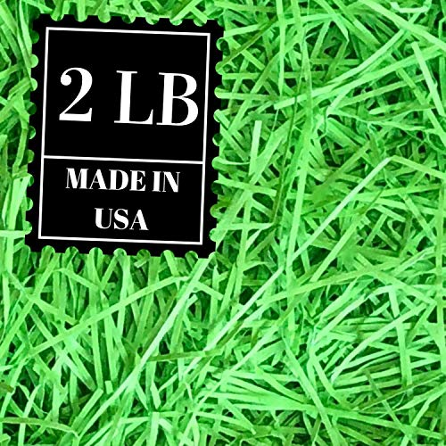 Shredded Paper Gift Basket Filler - Natural Packing Shreds for Crafts, Boxes and Bags, Recycled Decorative Stuffing Material, Raffia Confetti Easter Grass Fill by Mrs Fizz (Lime Green, 2 LB) -