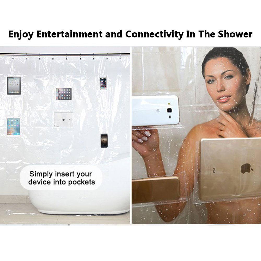 Urbanviva Eco-Friendly EVA Clear Shower Curtain iPad Mount Waterproof Liner with Pockets for Tablets or Phones