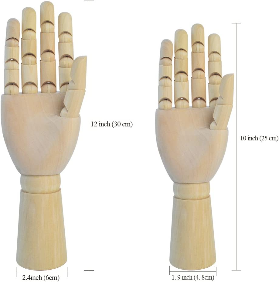 10 Zoll Linke Hand Wooden Hand Model Moveable Jointed Articulated Flexible Fingers Hand Mannequin for Sketching Drawing Home Office Desk Kids Children Toys Gift