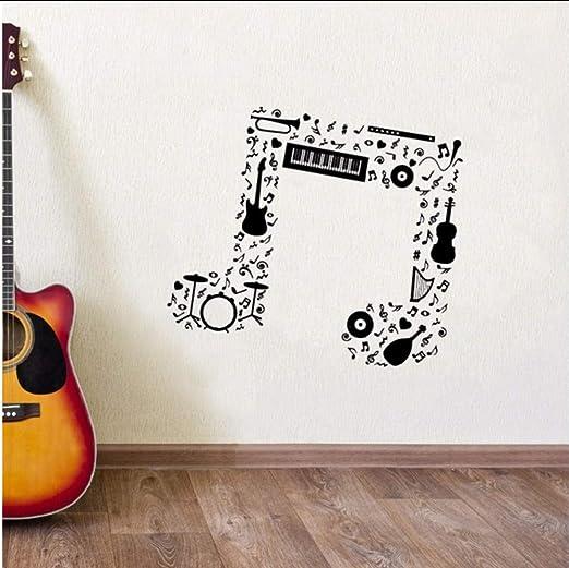 Lkfqjd Nota Musical Etiqueta De La Pared Guitarra Saxofón Flauta ...