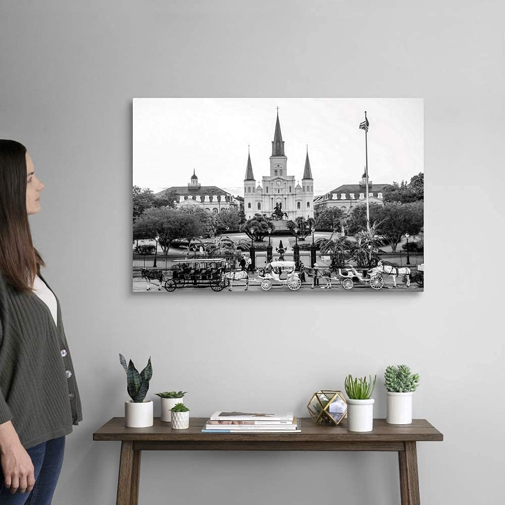 YuFeng Art Inn Modern Wall Poster Art Print Oil Painting on Canvas Home Decor Wall Decoration Canvas Art St. Louis Cathedral and Jackson Square, New Orleans, Louisiana Canvas Wall Art Print (Framed-Ready to Hang,20x30inch)