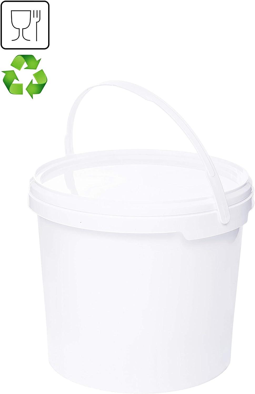 Cubo con tapa blanca de plástico, con tapa y asa, apto para alimentos, de alta calidad 3 L Blanco