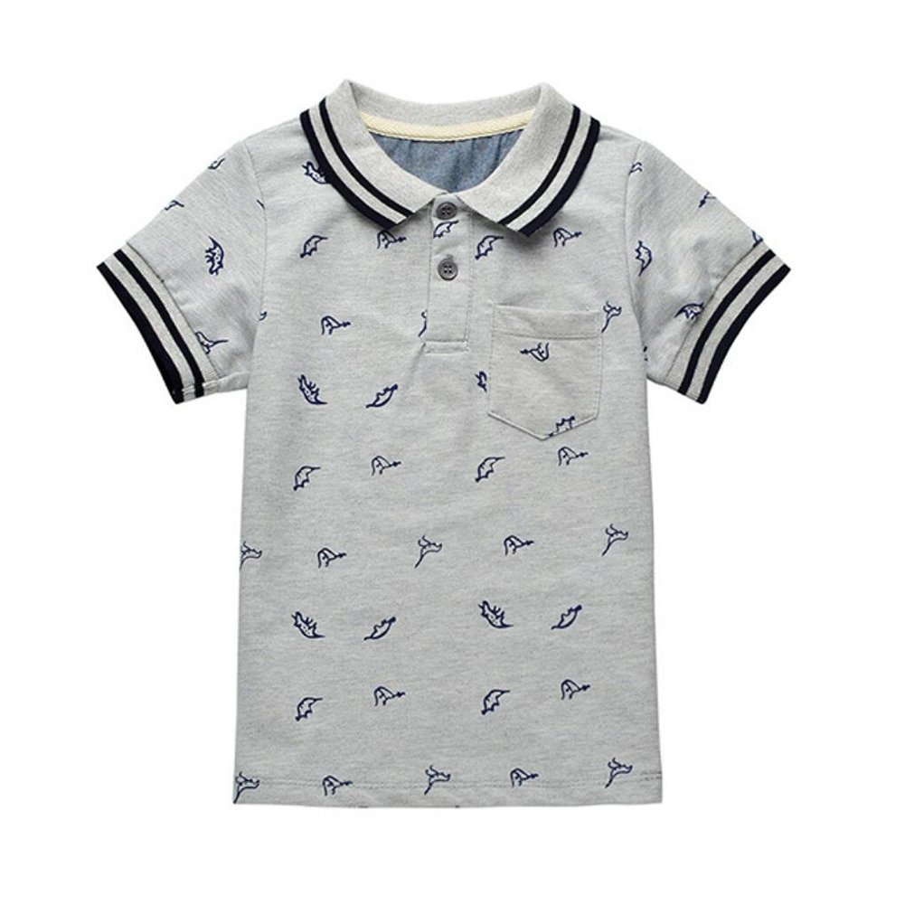 Motteecity Trendy Boys Clothes Cartoon Dinosaurs Print Birthday Gift Soft Polo Shirt