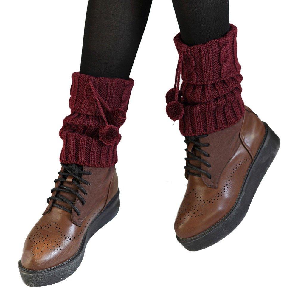 ODJOY-FAN-twist Con la palla Breve paragrafo Calzini Copriscarpe per calzini con scaldamuscoli in maglia due paia di alla moda e morbidi da donna Scaldamuscoli inverno