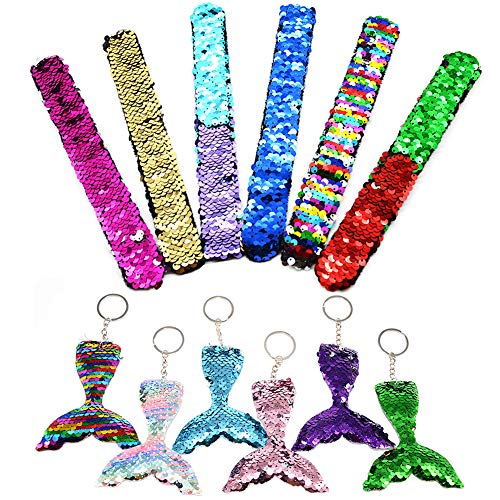 Angela&Alex Mermaid Slap Bracelets, 12PCS Slap Sequin Sparkly Bracelets Mermaid Tail Key Chain Christmas Toy for Boys Girls Age 5 6 7 8 9 Party Favors Two-Color Reversible(6 Bracelets+6 Mermaid Tail)