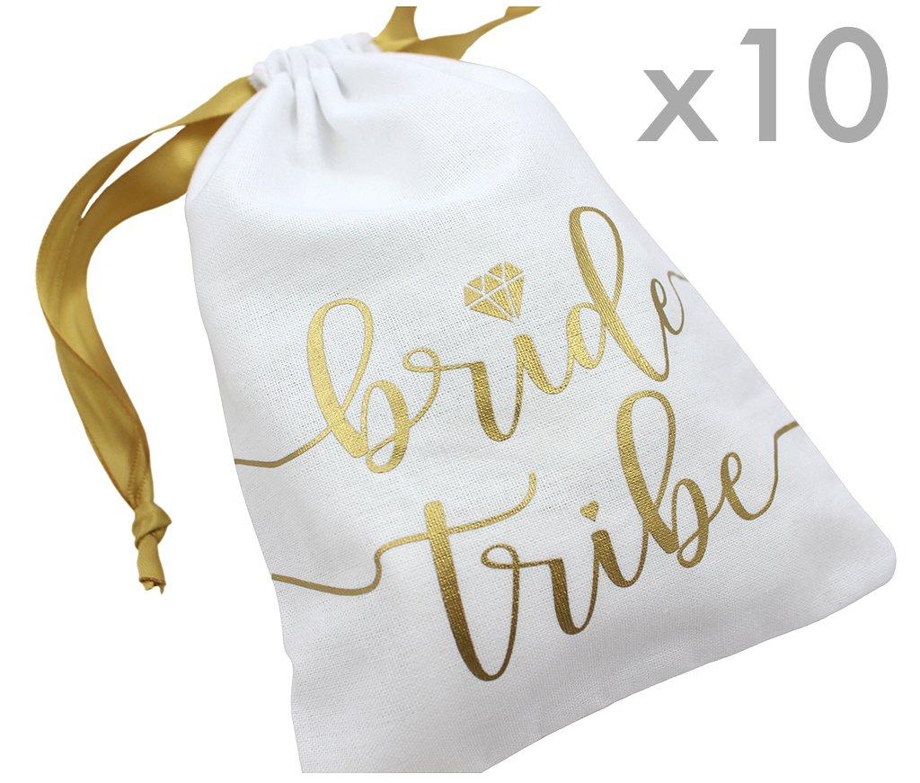 "Bachelorette Survival Kit Bridal Shower 7x5/"" Bridal Party Wedding Favor 10pc Pack, White /& Gold 10pc Bride Tribe Drawstring Bags w//Satin Ribbon Cotton Pouch for Bridesmaids Hangover Kit"