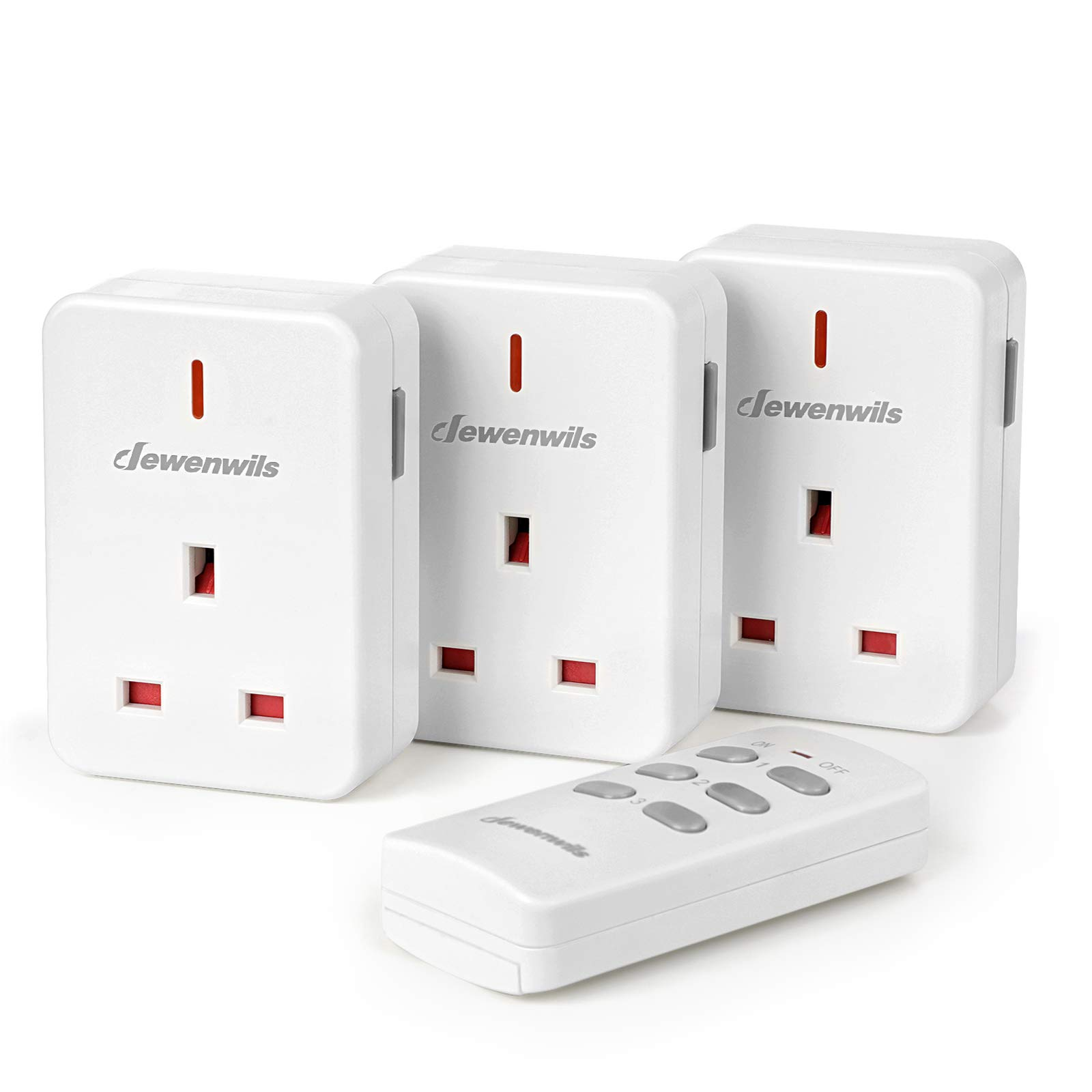 DEWENWILS Remote Control Plug Socket, 13A/3120W Heavy Duty Wireless Light Switch, 30m/100ft Long Range, Programmable, CE and RoHS Listed, 3 Pack Sockets and 1 Remote