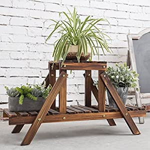 MyGift 32-Inch Burnt Wood 2-Tier Plant Stand, Garden Display Shelf