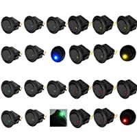 TILY 20Pcs Car Vehicle Truck Rocker Toggle LED Switch Blue Red Green Yellow Light On-off Control 12V 16A
