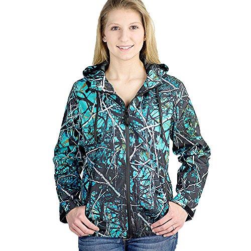 (Muddy Girl Camo Women's Serenity Camo Windbreaker Jacket, Turquoise, 3X-Large)