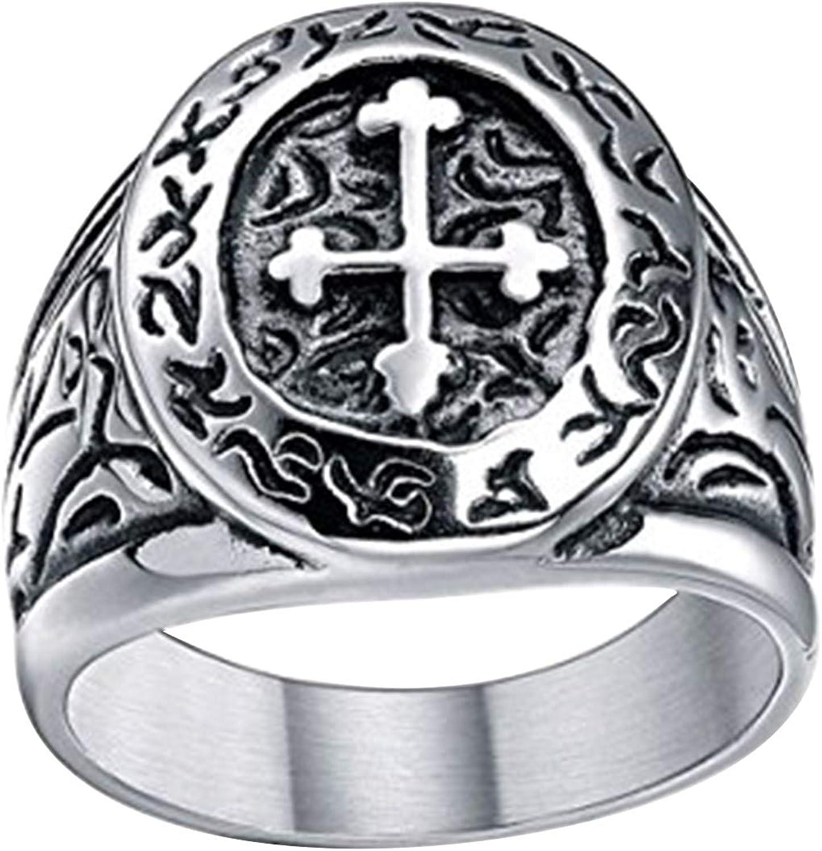 TIGRADE Stainless Steel Ring Vintage Celtic Cross Band Medieval Biker for Men Size 7-13