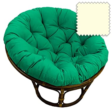42-Inch Bali Rattan Papasan Chair with Cushion - Solid Twill Fabric, Eggshell - DCG Stores Exclusive