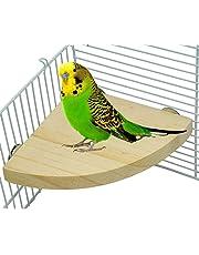 527BL en Forme de Ventilateur en Bois à pédale Plate-Forme Plate-Forme de Bird Parrot Support Playground Demi cylindrique Section Journal Support Plaque Perchoir Cage Accessoires