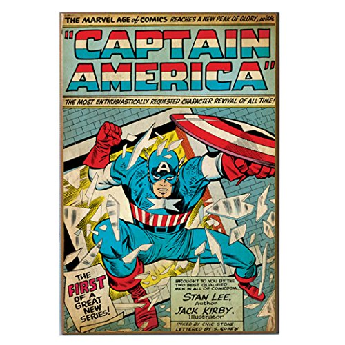 Captain America Poster (Silver Buffalo MC5736 Captain America New Series Comic Book Cover Wood Wall Art Plaque, 13 x19)