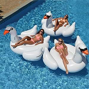 Wishtime Flotador Inflable Gigante de la Piscina del Cisne HQ17011 Verano de Verano Float Island Ride-en Lounger Lilo Pool Party Juguetes para niños y ...