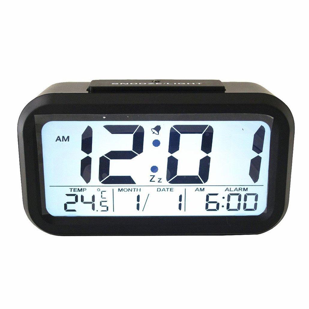 YKL World Large LCD Digital 12/24 Silent Alarm Clock Sensor Light Nightlight Repeating Snooze with M/D & Temperature Display White Light, black