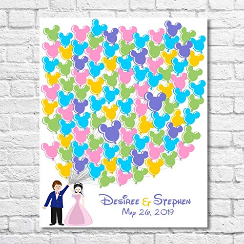 Disney Wedding Guestbook alternative Mickey Mouse fan wedding fairy tail wedding sign poster signature print Mickey Balloons custom wedding gift engagement wall art princess and prince Unframed