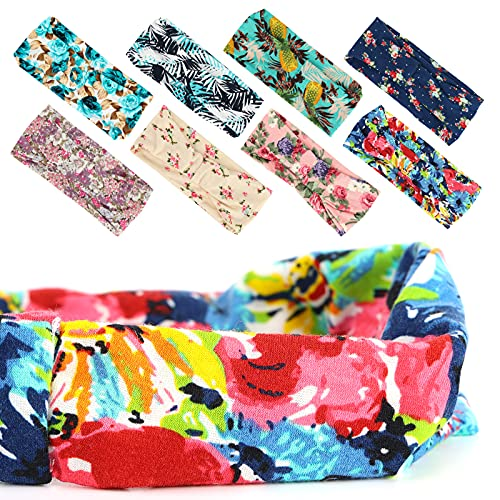 3 otters 8Pack Fashion Headbands, Women\'s Head Band Printed Boho Turban, for Yoga Running Sports Workout Summer Dress Up