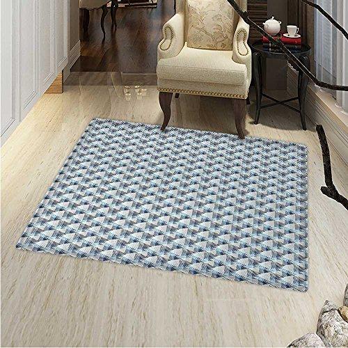 Stripes Area Rug Carpet Eighties Style Line Arrangement Diagonal Pattern Geometric Concepts Living Dining Room Bedroom Hallway Office Carpet 3'x5' Cream Blue Pale Blue