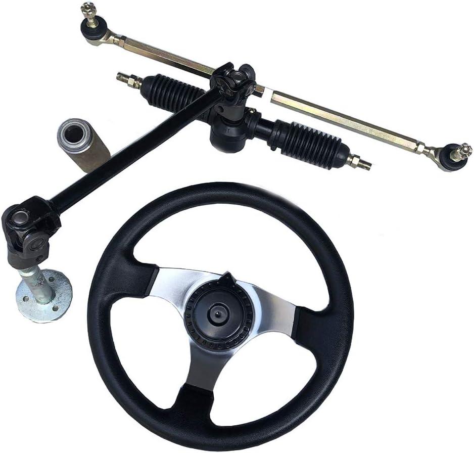 30cm Steering Wheel Set Tie Rod Rack Adjustable Shaft for 110cc Go Kart Bike 32cm Gear Rack Pinion