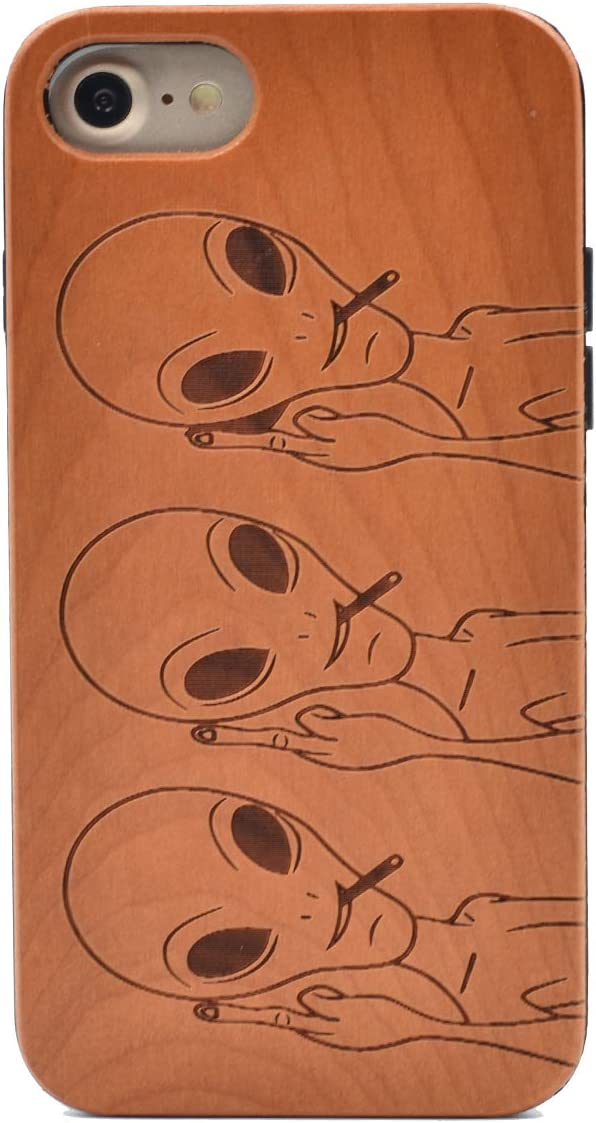 iPhone 7 Wooden Case, Funny Space Alien Carving Real Wood Premium Protective Shockproof Slim Cover for iPhone 7,iPhone 8,iPhone SE (2020 Release)