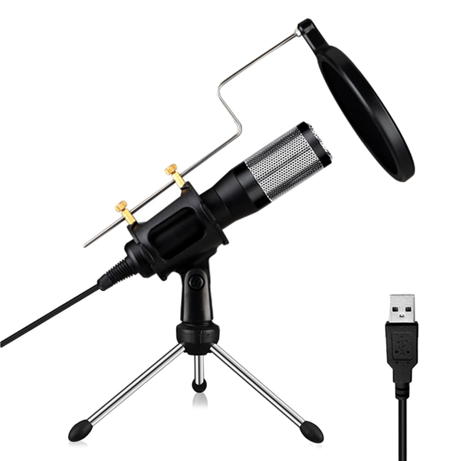 Home Studio Portable Mini USB Condenser Microphone with Pop Filter and Stand Built-in Sound Card for iPhone Computer laptop PC