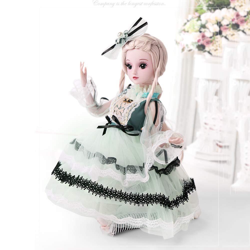 ZNDDB 23,6 Zoll elastisches Gelenk Reborn Baby doll,Lange Haarprinzessinkleid-Perückeschuhe, Mädchenkindspielzeugdekoration