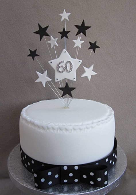 60th Birthday Cake Topper Black And White Stars Ideal For A 15cm