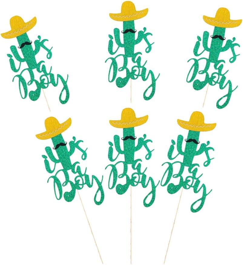 F Fityle 6 Piezas Palillos de Pastel Diseño con Cactus Topper de Pastel de Fiesta Cumpleaños Suministros para Bodas - Golden Hat + Cactus Verde Barbudo Chico: Amazon.es: Juguetes y juegos
