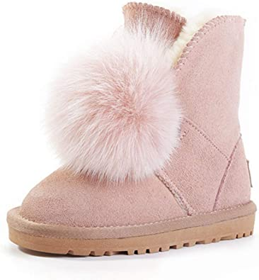Baby Girls Boys Warm Winter Flat Shoes Faux Fur Snow Boots Plush Hiking Outdoor Shoes