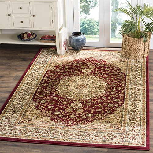 Safavieh Lyndhurst Collection LNH222B Traditional Oriental Medallion Red and Ivory Square Area Rug (8' Square)