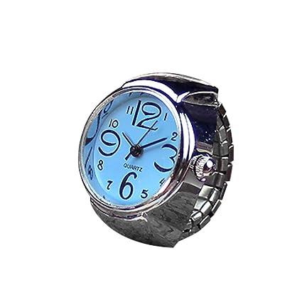 Rcool Reloj Anillo Cuarzo Metal creativo elástico Esfera Redonda Analógico para Mujer (Azul)
