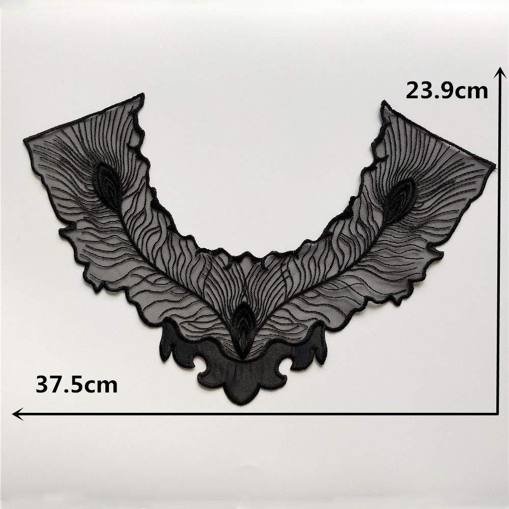 Color D 2 pcs Polyester Black Fabric Flower Lace Sewing Applique Lace Collar Neckline Collar Applique DIY Accessory