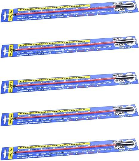 NAGOYA RH-771 SMA Female Dual Band Antenna 144//430MHz 2M//70CM Replacement Radio Antenna 15-inch for Baofeng Kenwood Wounxun Walkie Talkies 5 Black Pack