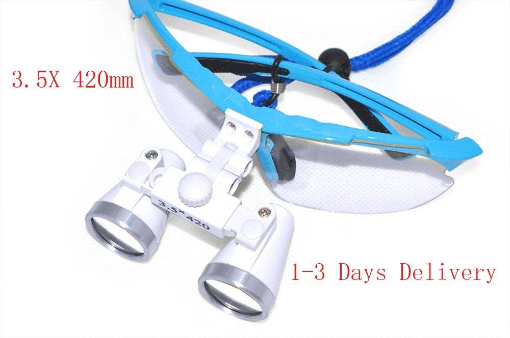 Finlon Dentist Dental Surgical Medical Binocular Loupes 3.5X 420mm Optical Glass Loupe (Blue)