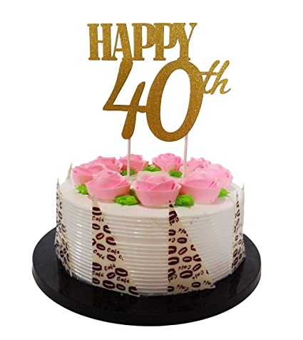 Amazon Gold Glitter Happy 40th Birthday Cake Topper