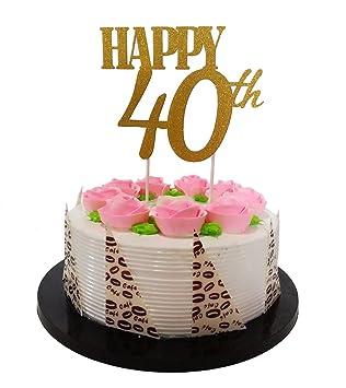 Decoración para Tarta para Dorado con Purpurina Happy 40th ...