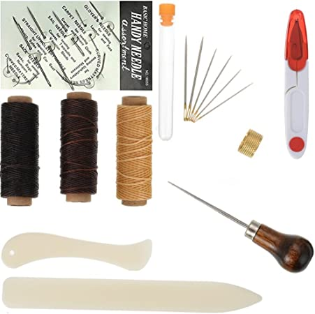 Large-eye Needles Starter Tools Set Awl Bone Folder Paper Creaser Bookbinding Tools Set 22 Sewing needles for Handmade Books Bookbinding Waxed Thread DIY Bookbinding Crafts and Sewing Supplies
