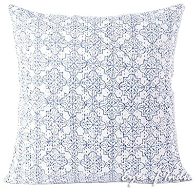 EYES OF INDIA - 24  Blue Printed Kantha Throw Couch Sofa Pillow Cushion Cover Boho Indian Bohemian