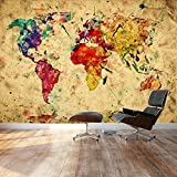 "Wall26 - Large Wall Mural - Grunge/Vintage World Map | Self-adhesive Vinyl Wallpaper / Removable Modern Decorating Wall Art - 100"" x 144"""