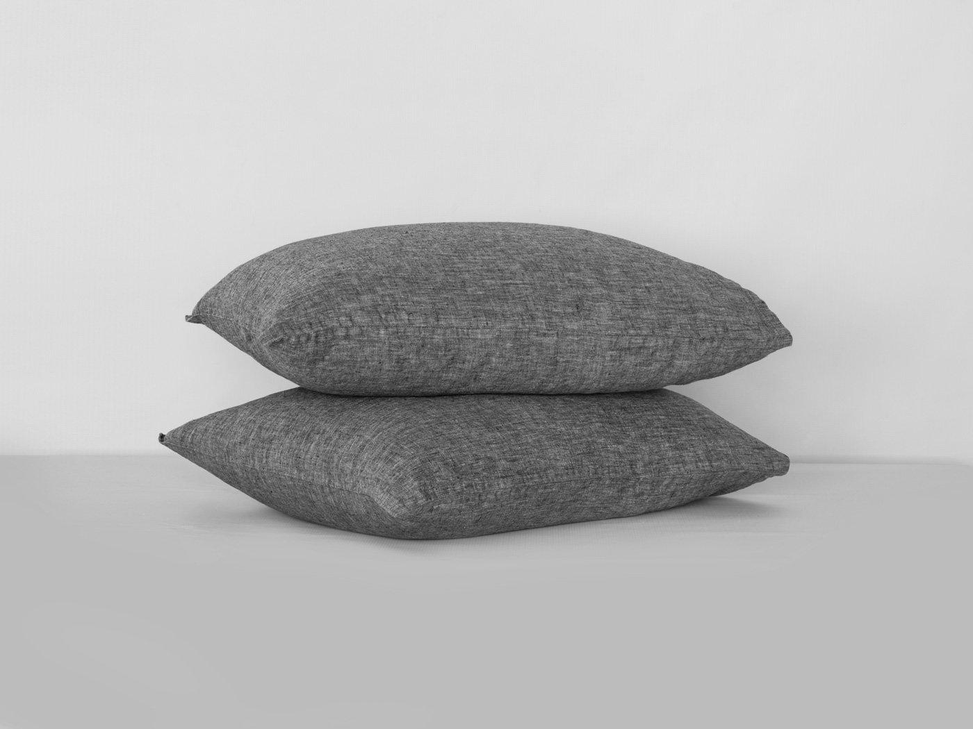 BEALINEN Linen Pillowcases Shams 2 pcs Inside Pocket Closure Size Euro Square 26''x26'' Dark Stone Gray Color Washed Softened European Linen