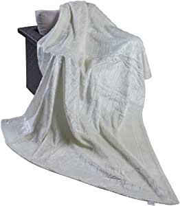 Matthem Solid Faux Fur Throw Blanket-59x79 inch (Ivory)