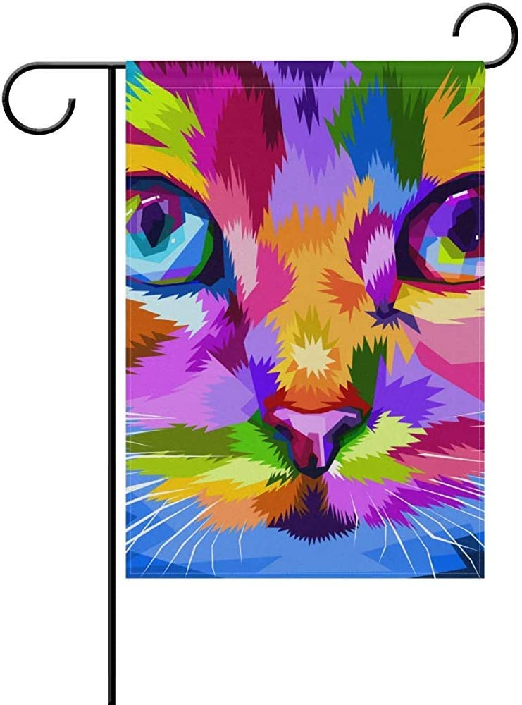 Starooct Cute Hippie Rainbow Cat Summer Spring New Year Christmas Garden House Flag Yard Banner for Outside Flower Pot Double Side Print 12
