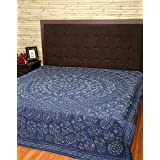 Queen Bedspread Elephant Blue Double Embroidered Cotton Bedsheet By Rajrang