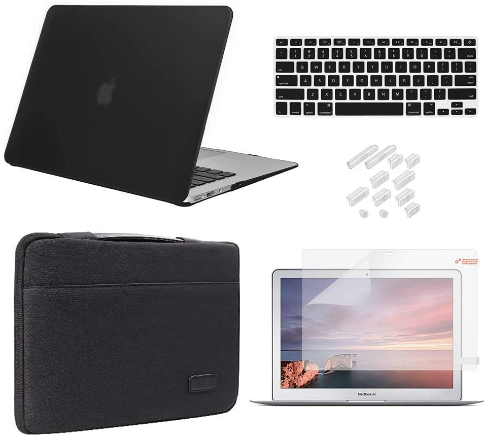 MacBook Air 13 Inch Case 2010-2017 Release Model A1369/A1466 Bundle 5 in 1, iCasso Hard Plastic Case, Sleeve, Screen Protector, Keyboard Cover & Dust Plug Compatible Old MacBook Air 13'' - Black