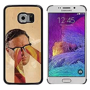 Be Good Phone Accessory // Dura Cáscara cubierta Protectora Caso Carcasa Funda de Protección para Samsung Galaxy S6 EDGE SM-G925 // Glasses Psychedelic Art Colors Man Face Portrait