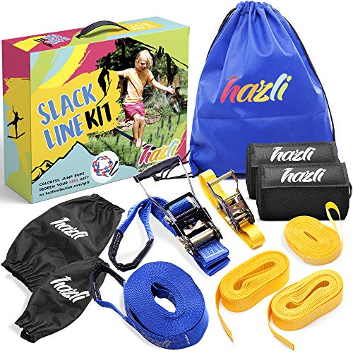 Hazli Beginners Slackline Set with Training Line - Kids Slackline Kit with Tree Protector Sleeves - Non-Slippery Slack Line Rope for Kids-Complete Balance Rope Kit –Safe and Secure Slacklines for Kids