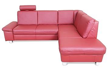 Sofa Couch Ada Alina Leder Ecksofa Xl Abina Rot Amazon De Kuche